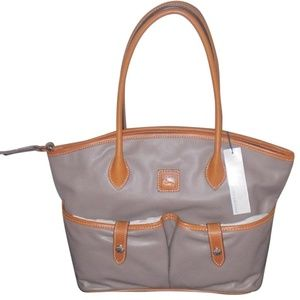 Dooney & Bourke Crescent Taupe Leather Tote NWT